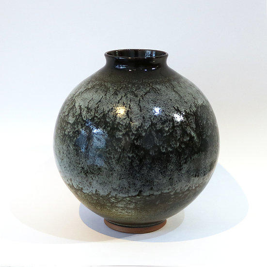 Stoneware Vase with Chun and Tenmoku Glaze