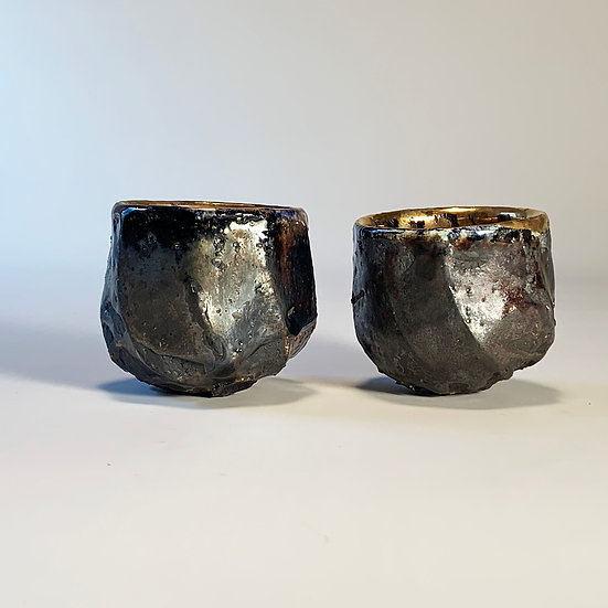 Gold and Black Hand Carved Vessels (Pair Guinomi) | By Timothy Copsey