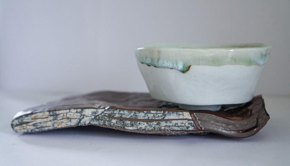 Kiln Fired Slate with Porcelain Kurinuki Bowl   By Rhiannon Gwyn
