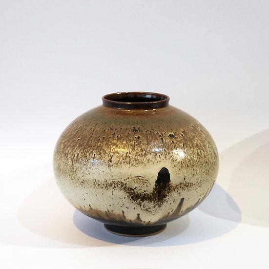 Stoneware Vase with Titanium and Tenmoku Glaze