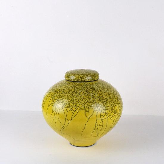 Yellow Raku Lidded Jar | By Peter Sparrey