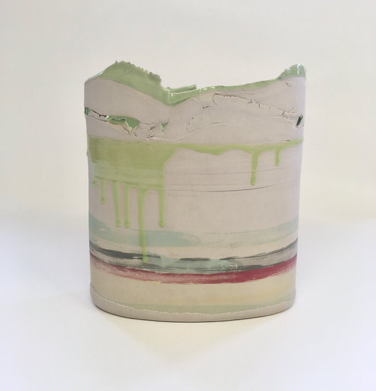 Large Pink/Green Vessel | By Elly Wall