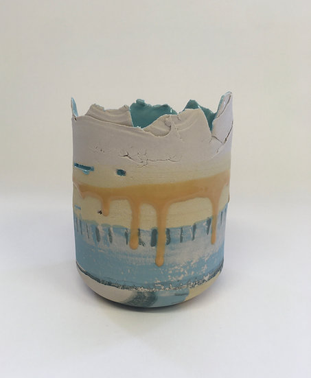 Small Yellow/Turquoise Vessel, Mustard Drip, Turquoise Interior