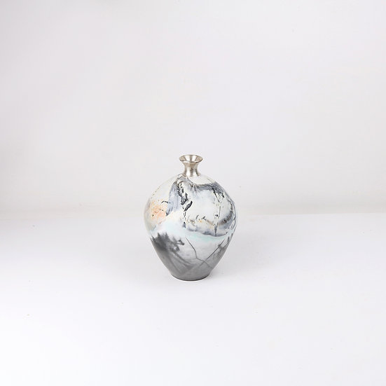 Saggar-fired Vessel with Silver Top | By Alison West