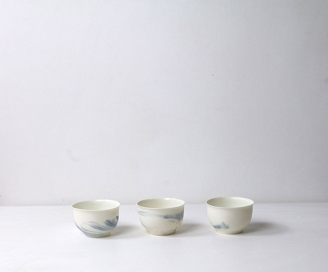 Porcelain Chinese Bowls with Blue Swirl  | By The Light Forge