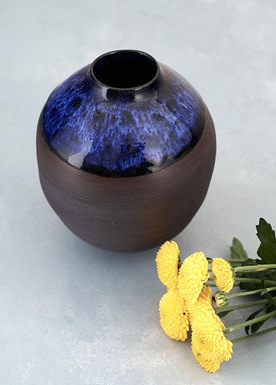 Onyx Black Porcelain Cobalt Blue Medium Moon Jar | By Kirsty Adams
