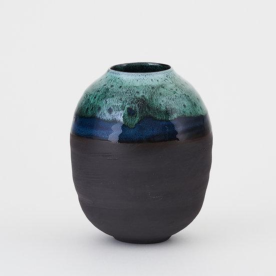 Onyx and Copper Green Medium Moon Jar | By Kirsty Adams
