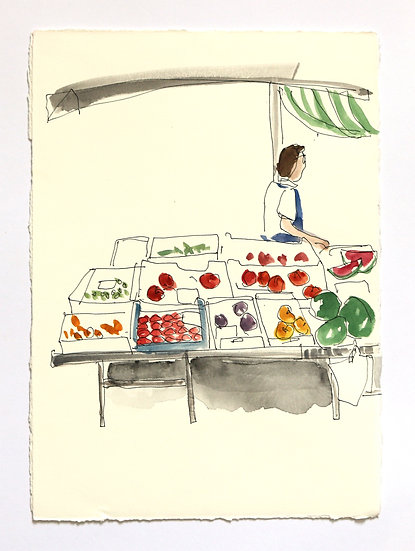 'Food Market' Sketch | By Helen Beard