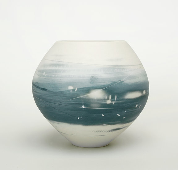 Small Spherical Vase (Two Blues)