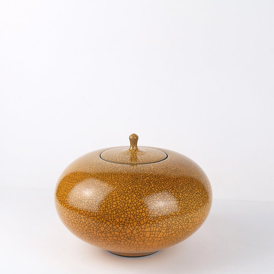 Orange Raku Lidded Jar | By Peter Sparrey