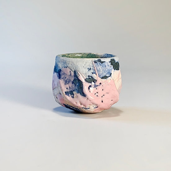 Pink and Blue Hand Carved Vessel (guinomi) | By Timothy Copsey