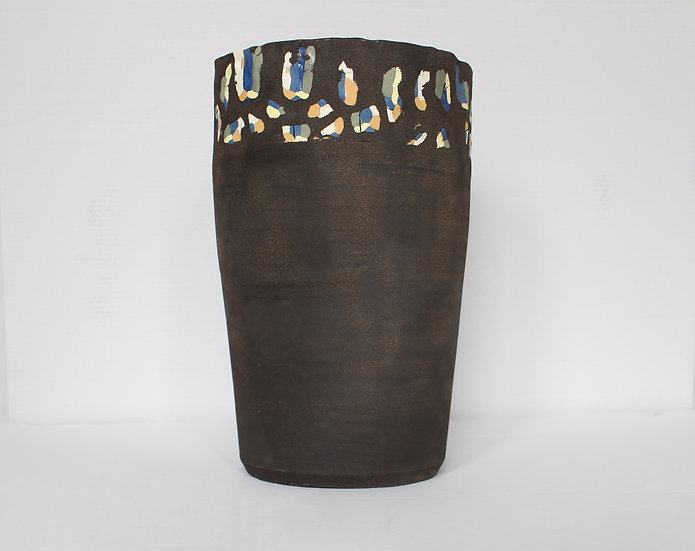 Large Black Clay Vessel | By Sydney Alts