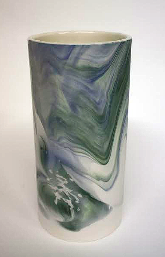 Green and Blue Marble Vase | By Clare Flatley