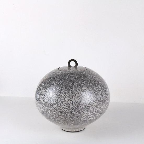 Tin Glaze Raku Lidded Jar | By Peter Sparrey