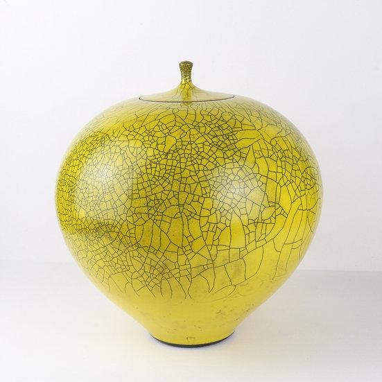 Large Yellow Raku Lidded Jar | By Peter Sparrey