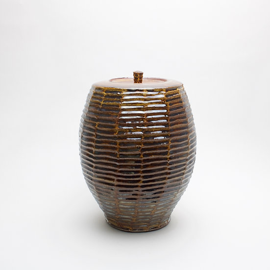 Large Amber Lidded Jar | By Roelof Uys