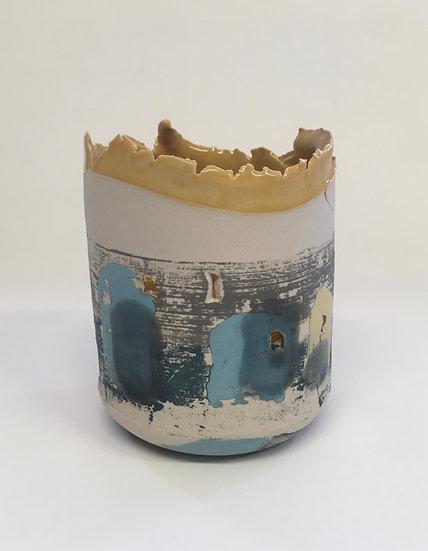Small Blue/Mustard Vessel, Mustard Interior