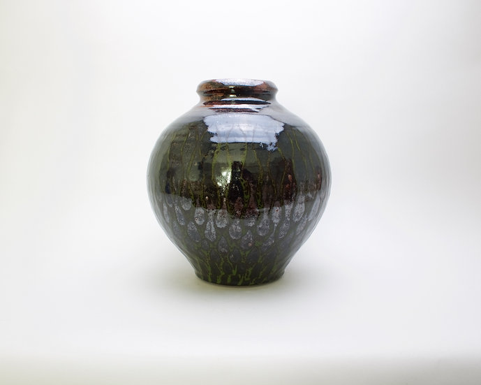 Large Tenmoku & Green Jar | By Leach Studio