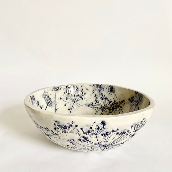 Cow Parsley Large Rounded Bowl   By Zuleika Melluish
