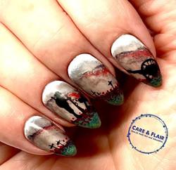 Unusual poppy day nail art.