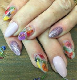 Milk bath nails, real flowers!