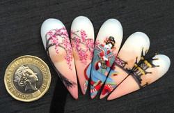 Geisha inspired art using Ikon.iQ gels.