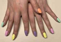 Pastel rainbow gel nails