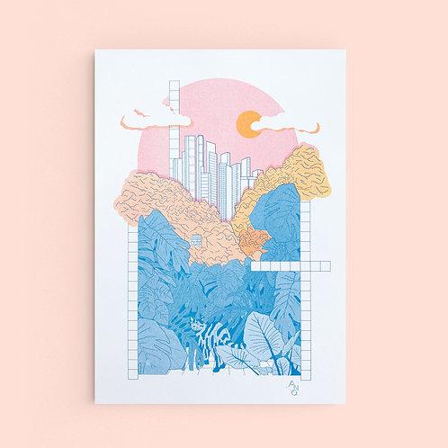 A3 Riso print Neko Jungle