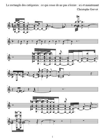 Le rectangle des catégories : ce qui cesse de ne pas s'écrire : ici et maintenant, par Christophe Gervot, p. 1