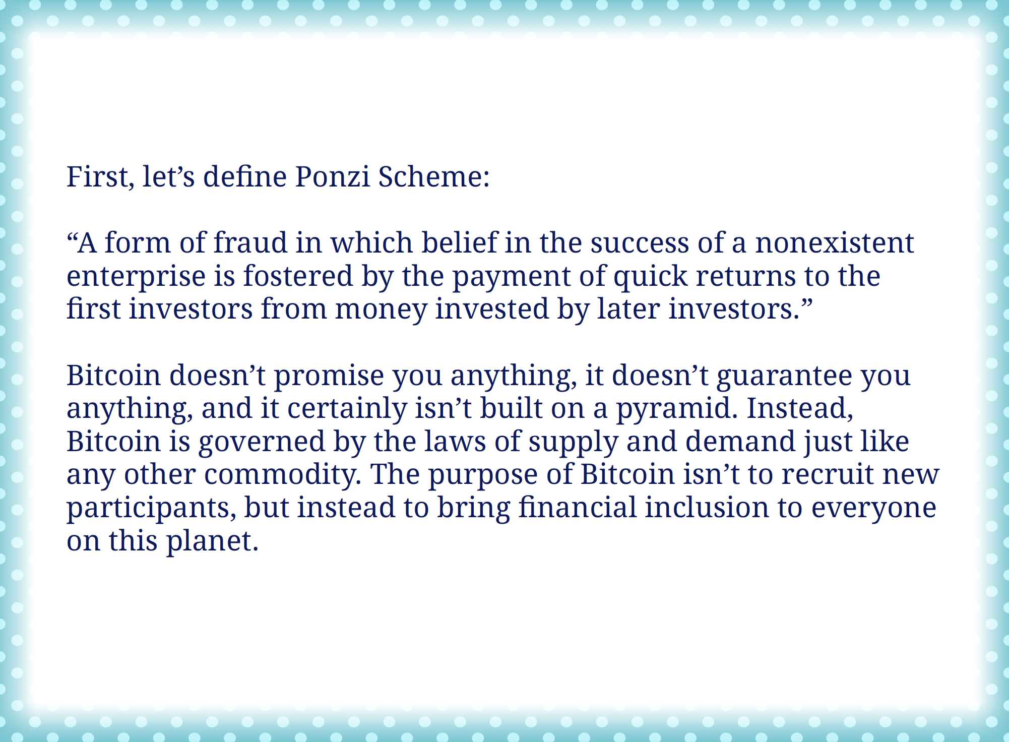 Bitcoin is a ponzi scheme: Start2Bitcoin