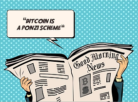 Bitcoin Starter Box: example card of debunking newspaper headlines