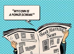 Bitcoin Starter Box: example card of debunking newspaper headlines