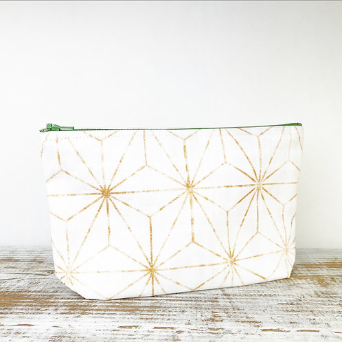 White and Gold Zipper Pouch