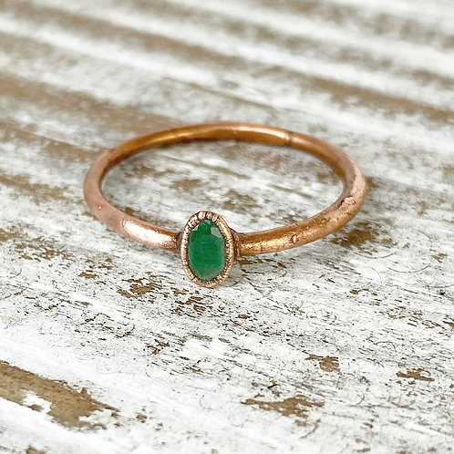 EMERALD BIRTHSTONE RING | EMERALD CRYSTAL RING | COLOMBIAN EMERALD GEMSTONE RING