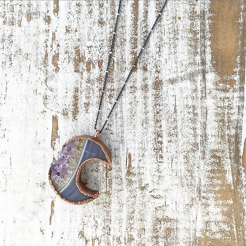 CRYSTAL MOON NECKLACE | DRUZY CRYSTAL NECKLACE | DRUZY MOON PENDANT