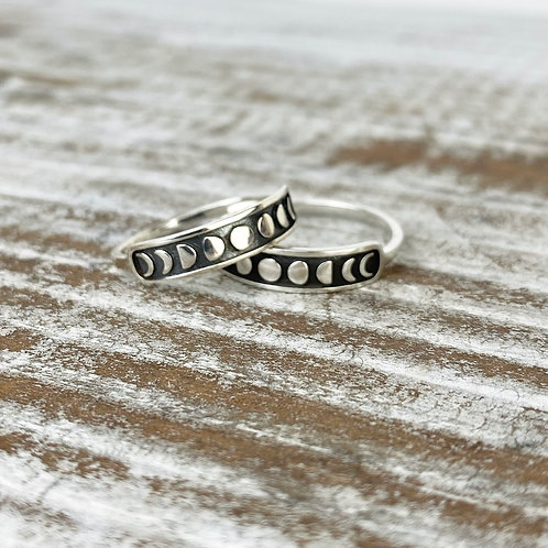 MOON PHASE RING | STERLING SILVER RING | STERLING MOON RING