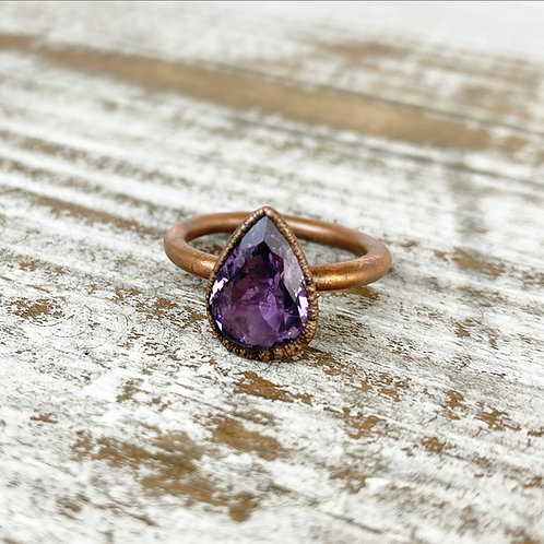 AMETHYST RING | AMETHYST CRYSTAL RING | PURPLE AMETHYST AND COPPER RING