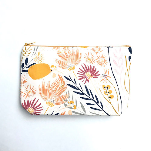 White Zipper Pouch with flowers