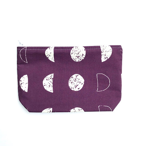 Purple Zipper Pouch with Moons