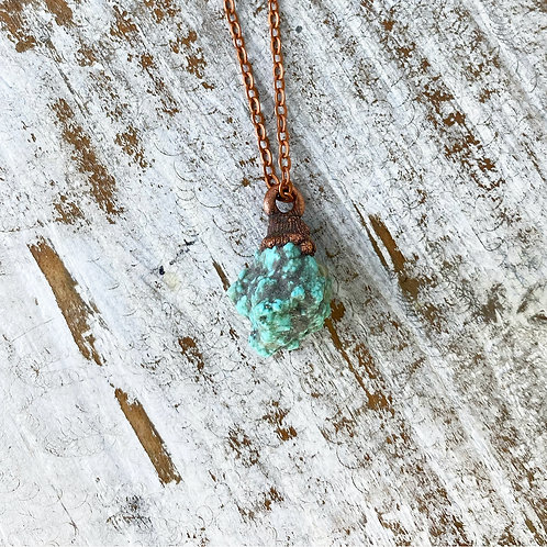 TURQUOISE NUGGET NECKLACE | RAW TURQUOISE JEWELRY | AMERICAN TURQUOISE PENDANT