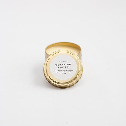 GERANIUM + ROSE TRAVEL TIN CANDLES