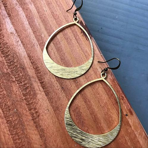 Textured Elongated Hoop Earrings
