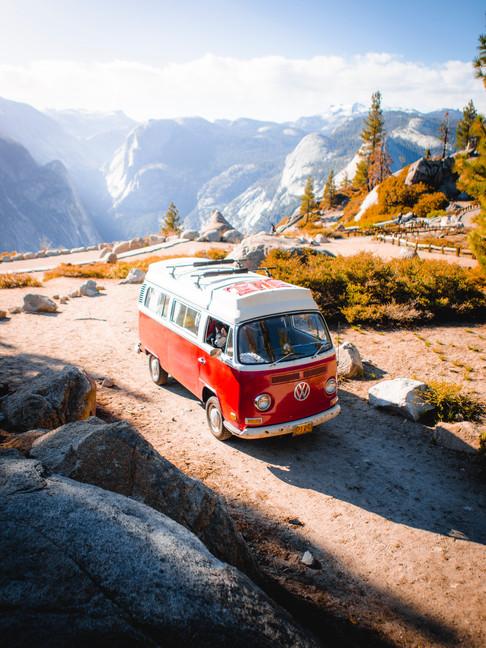 Red Vintage Volkswagen Westfalia