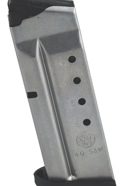 SMITH & WESSON, MAGAZINE, 40 S&W, 6RD, FITS SHIELD, STAINLESS