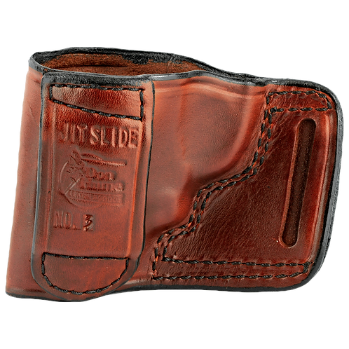 DON HUME, JIT SLIDE HOLSTER FITS TAURUS 85 S&W J FRAME RIGHT HAND BROWN LEATHER