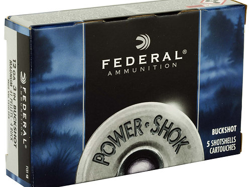 "FEDERAL, POWERSHOK, 12 GAUGE, 2.75"", 00 BUCK, MAX DRAM, BUCKSHOT, 9 PELLETS,5 B"