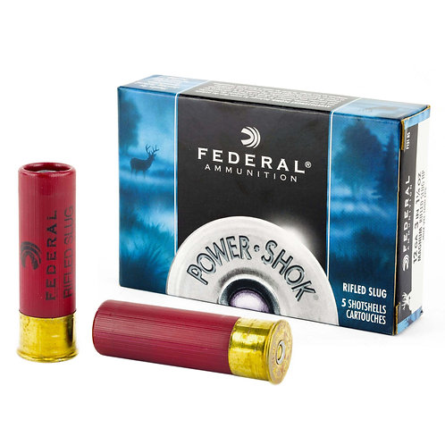 "FEDERAL POWERSHOK 12 GAUGE, 3"" MAG DRAM, 1.25OZ, RIFLED SLUG, HOLLOW POINT,5"