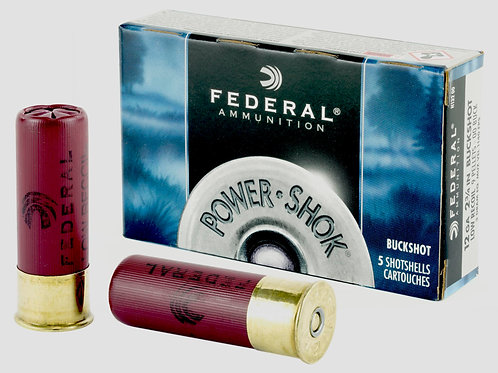 "FEDERAL, POWERSHOK, MAG DRAM 12 GAUGE, 2.75"", 00 BUCK, 3, BUCKSHOT, 9 PELLETS"