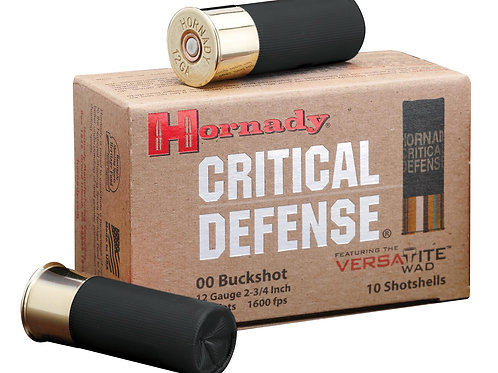 "HORNADY, CRITICAL DEFENSE, 12 GAUGE, 2.75"", 00 BUCK, BUCKSHOT, 10 ROUND BOX"