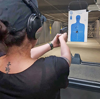 Woman training to shoot first time FMK 9